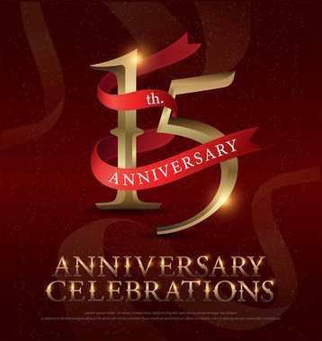 15th years anniversary celebration golden logo with red ribbon on red background. vector illustrator.eps
