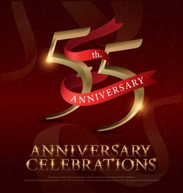 55th years anniversary celebration golden logo with red ribbon on red background. vector illustrator.eps