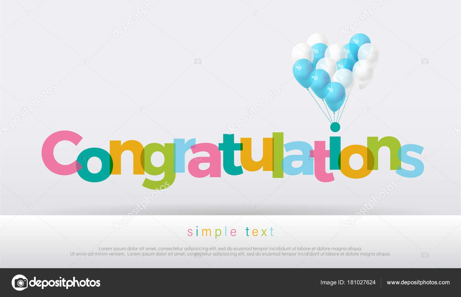 Congratulations Colorful Balloons White Background Congratulations ...