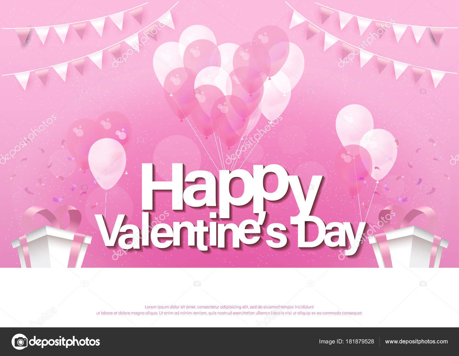 Feliz Día San Valentín Tarjeta Felicitación Rosa Letras Plantilla ...