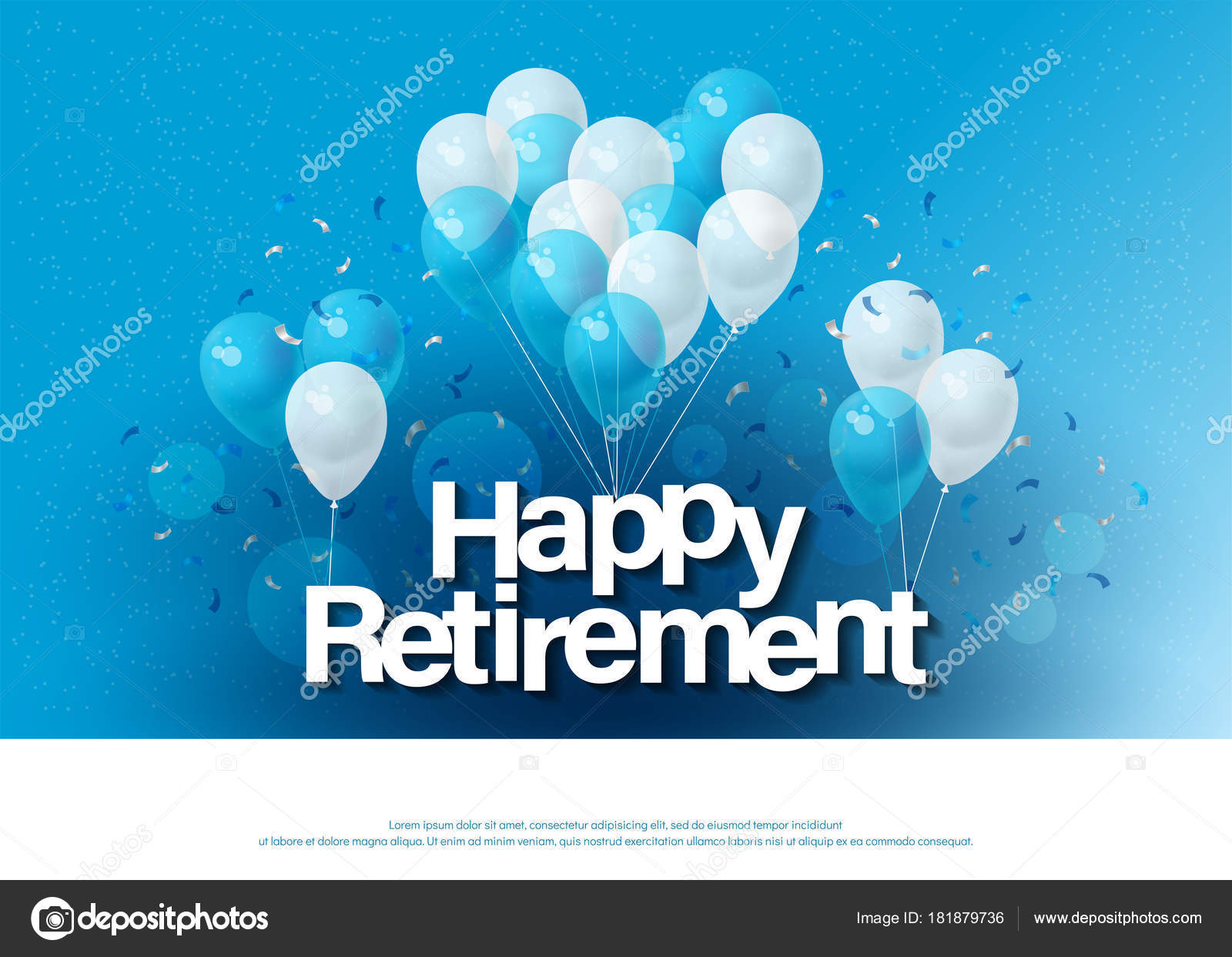 Happy retirement greeting card lettering template balloon confetti happy retirement greeting card lettering template balloon confetti design invitation stock vector stopboris Images
