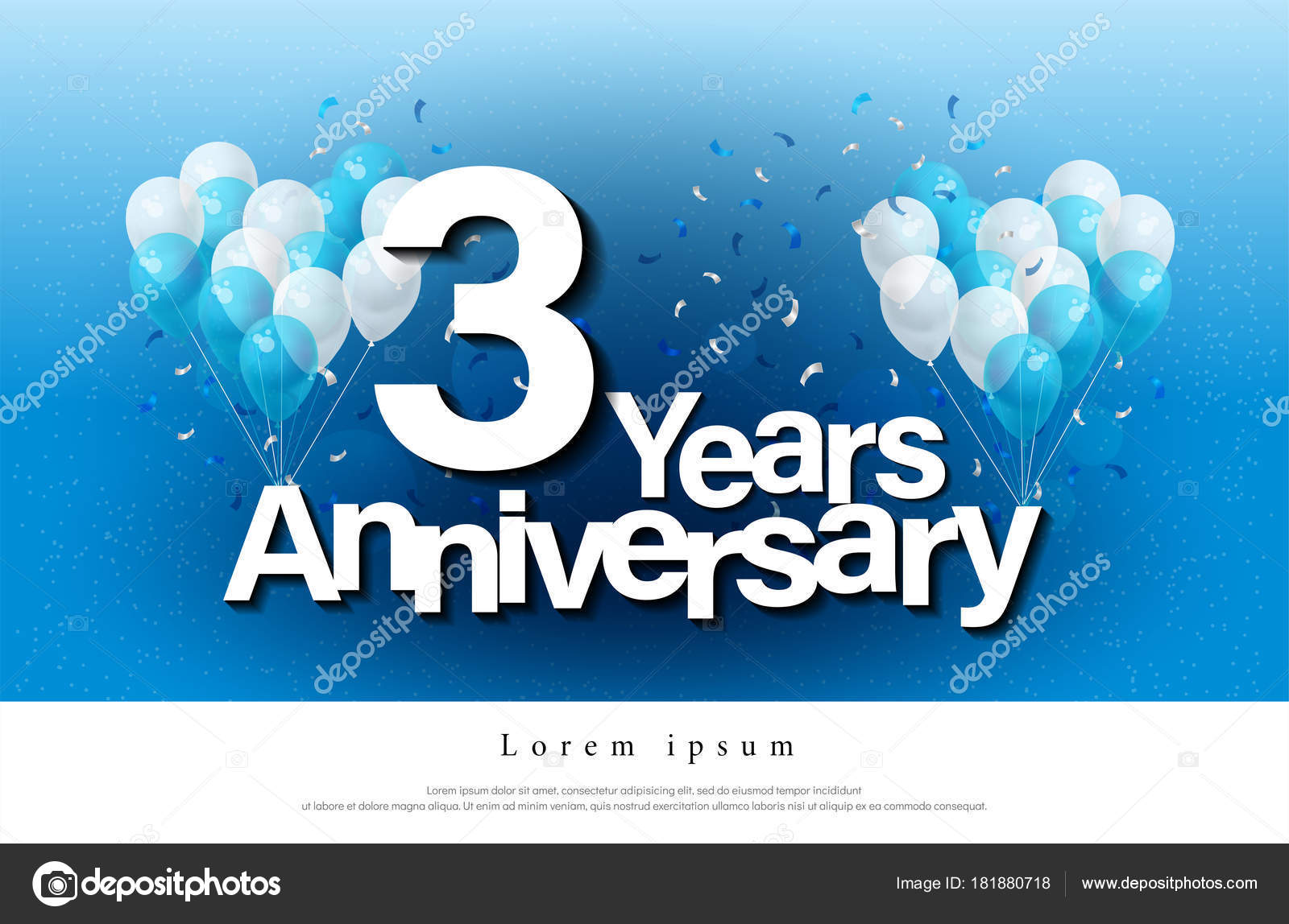 Rd years anniversary greeting card lettering template balloon