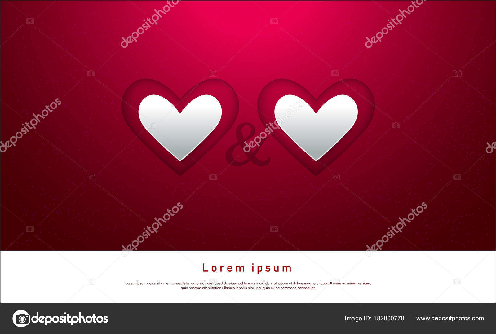 Valentine Day Greeting Card Template Invitation Hearts Confetti Red