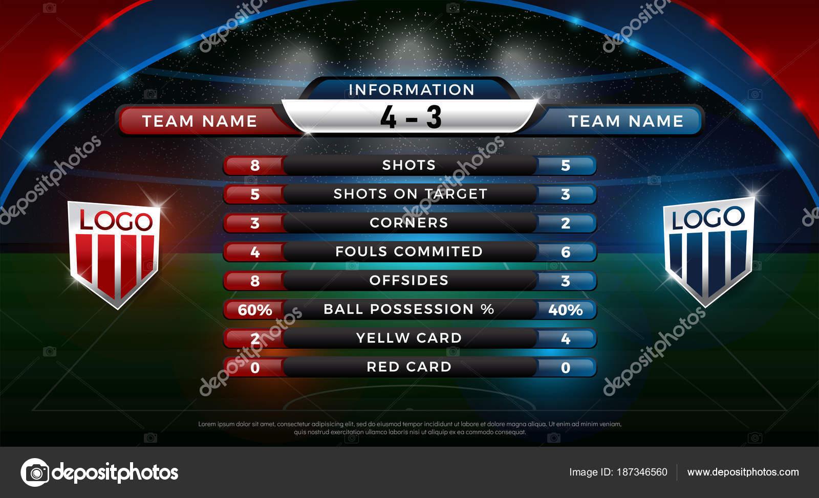 football scoreboard global stats broadcast graphic soccer template 2018 soccer  u2014 stock vector