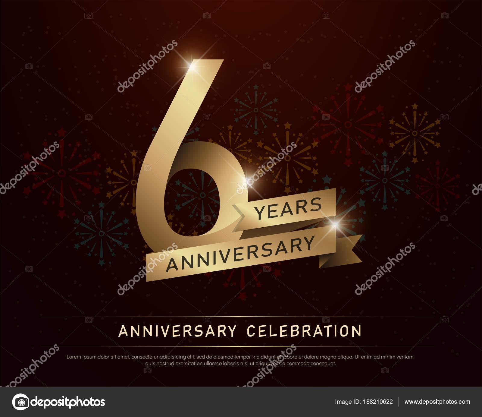 Anos Aniversario Celebracion Oro Numero Cintas Doradas Con Fuegos