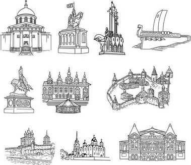 Set of russian cities. Vector sketches