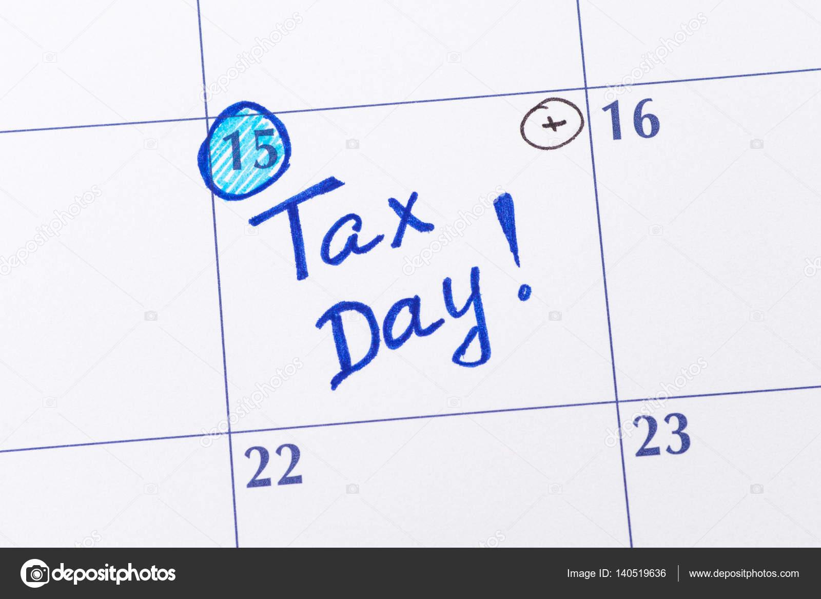 Imposta Calendario.Giorno Di Imposta Promemoria Nel Calendario Foto Stock