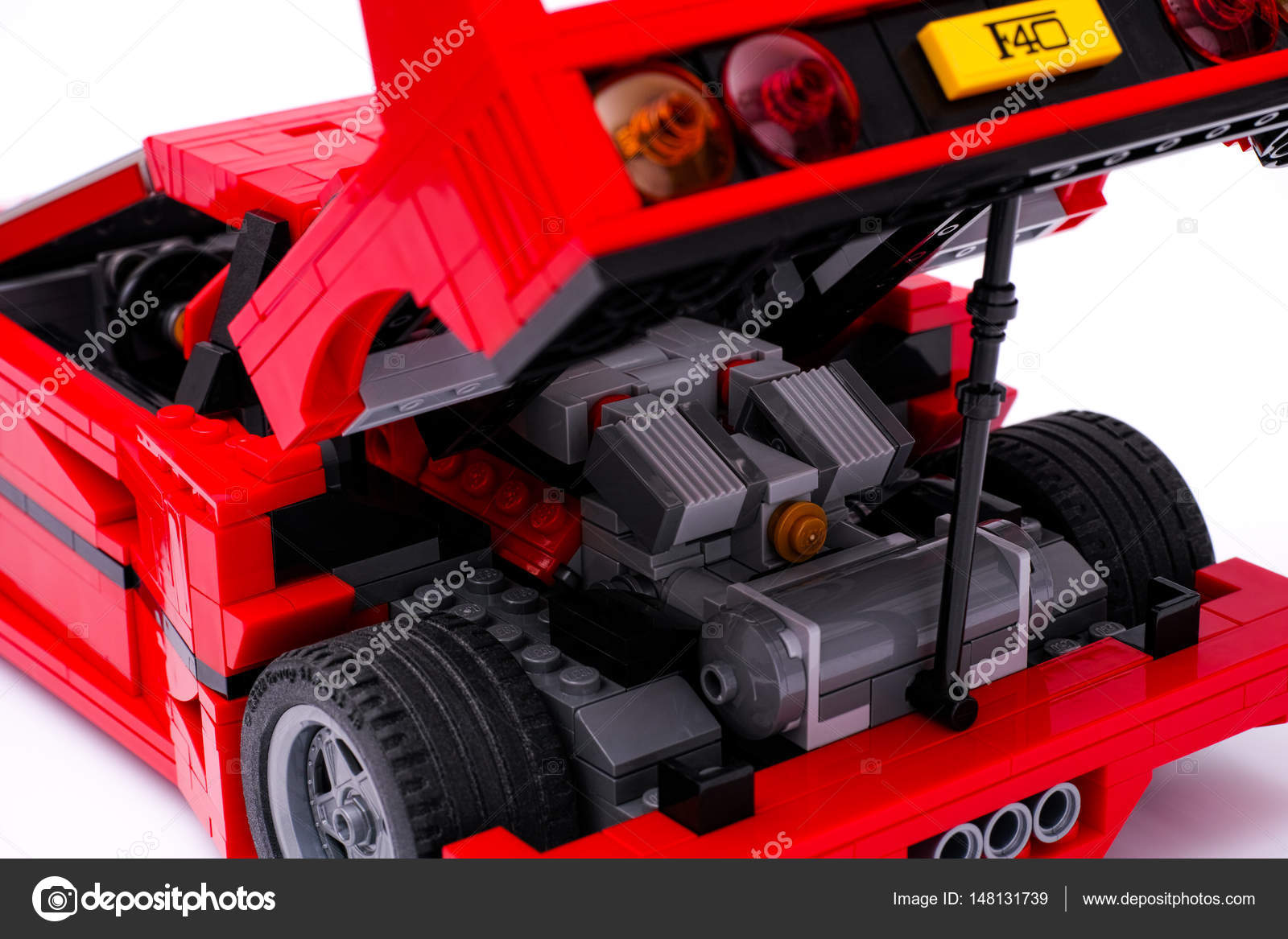 open trunk of lego creator expert ferrari f40 car on white. Black Bedroom Furniture Sets. Home Design Ideas