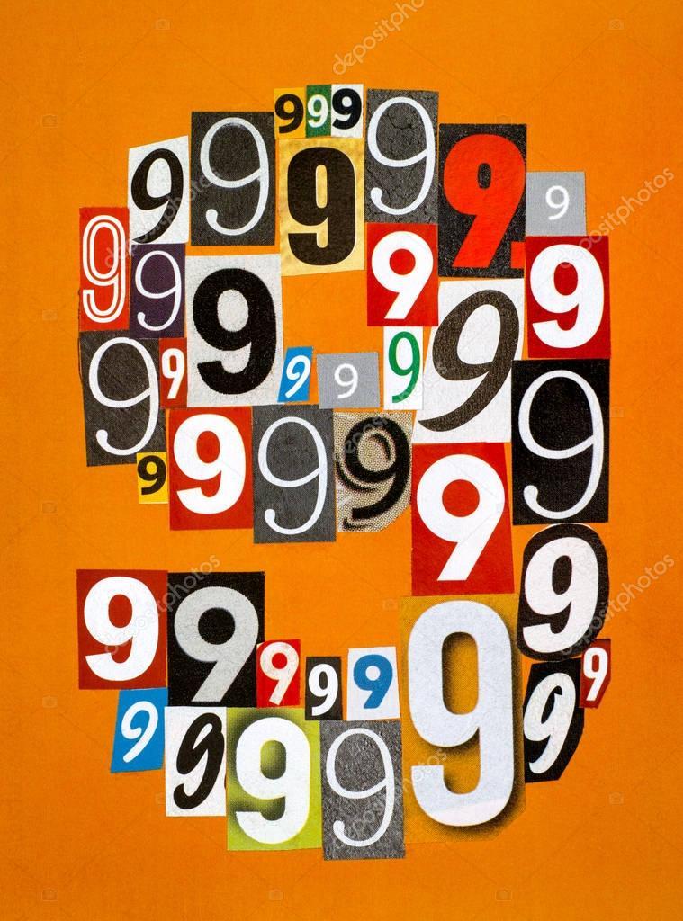 Numero Nove Fatta Dal Taglio Di Numeri Da Riviste Su Arancione B