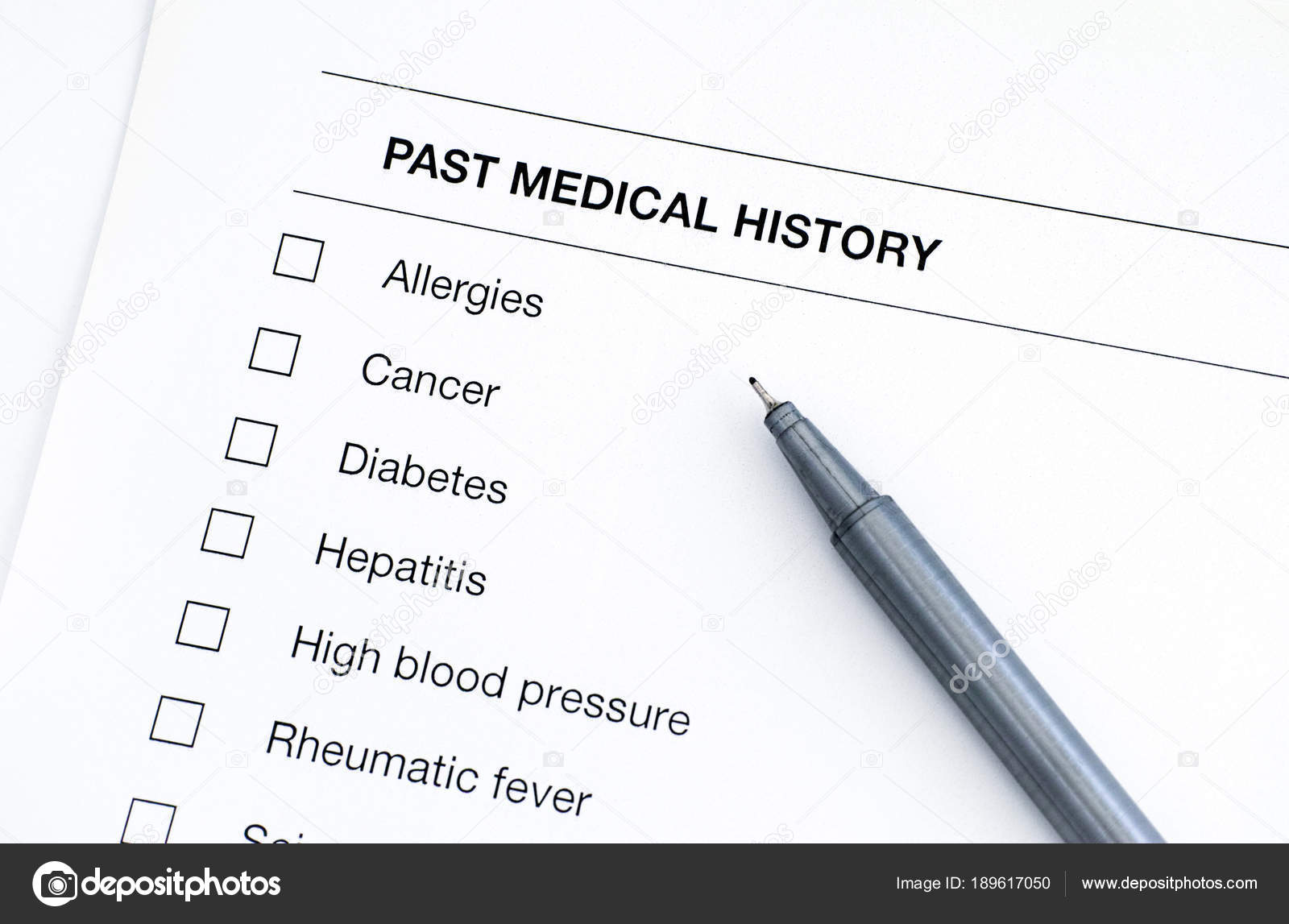 Past medical history questionary with pen  — Stock Photo