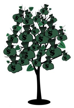 Stock image money tree with bags of dollars stock vector