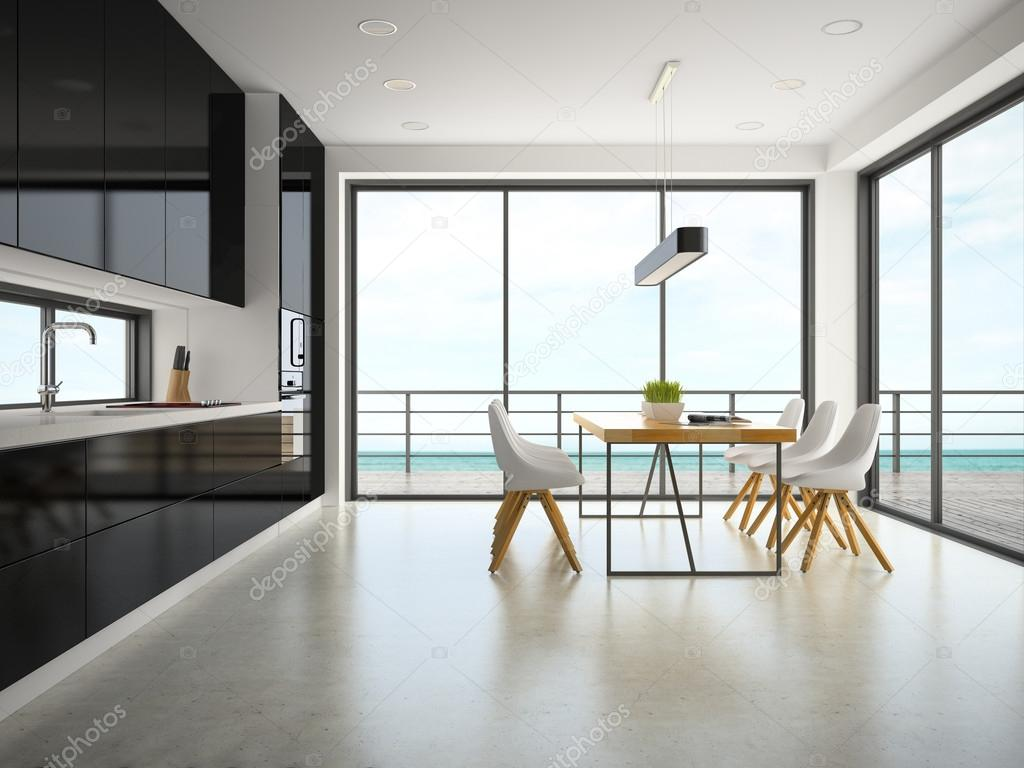 Innenraum des modernen Designs Zimmer 3D-Rendering — Stockfoto ...