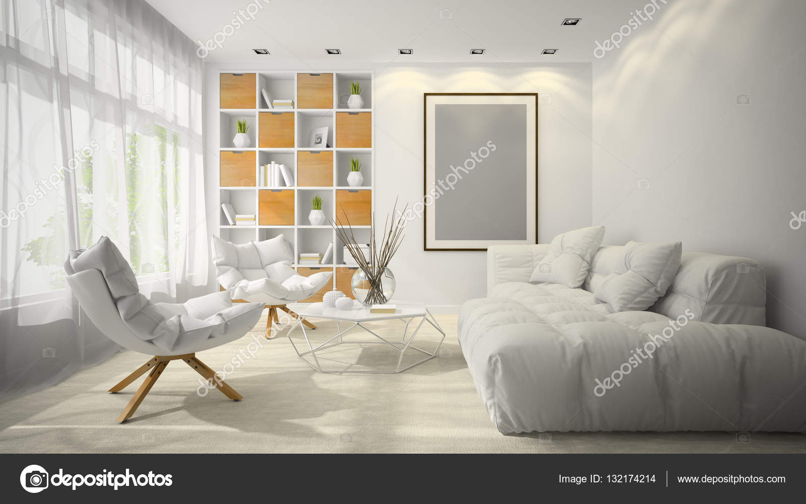 Interieur van moderne design kamer d illustratie u stockfoto