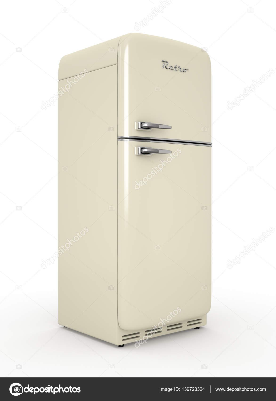 Retro-Kühlschrank 3d Rendering im weißen Hintergrund isoliert ...