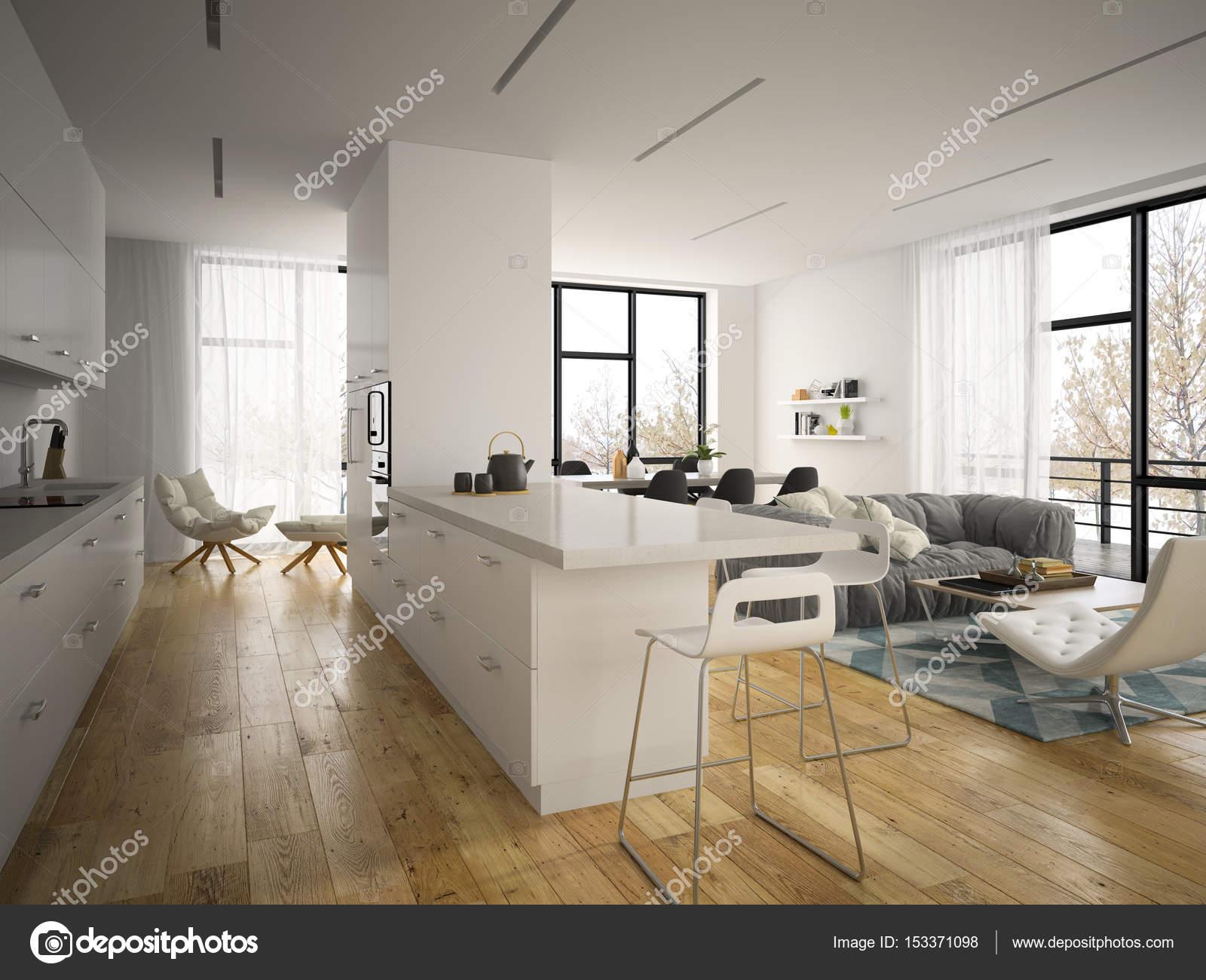 Moderne Innenarchitektur Raum 3d illustration — Stockfoto © hemul75 ...