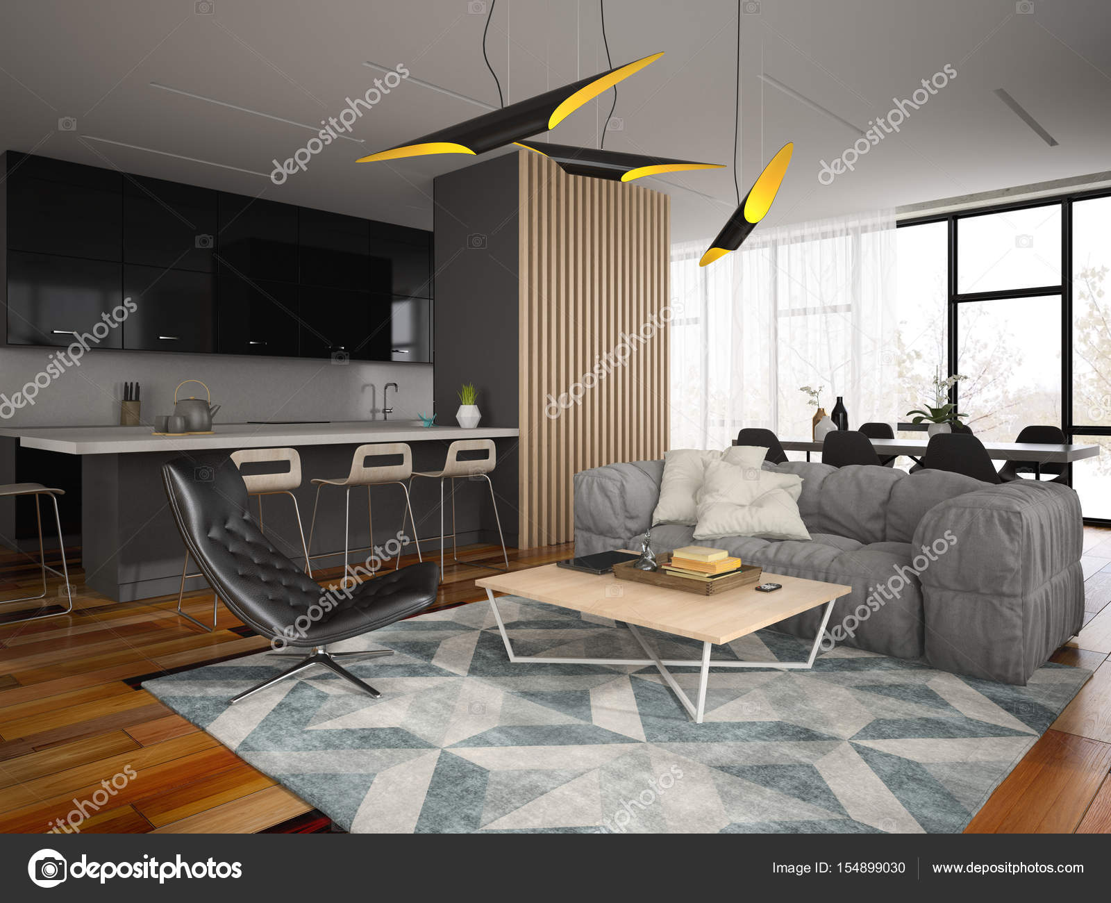 Interieur modern design kamer d illustratie u stockfoto hemul