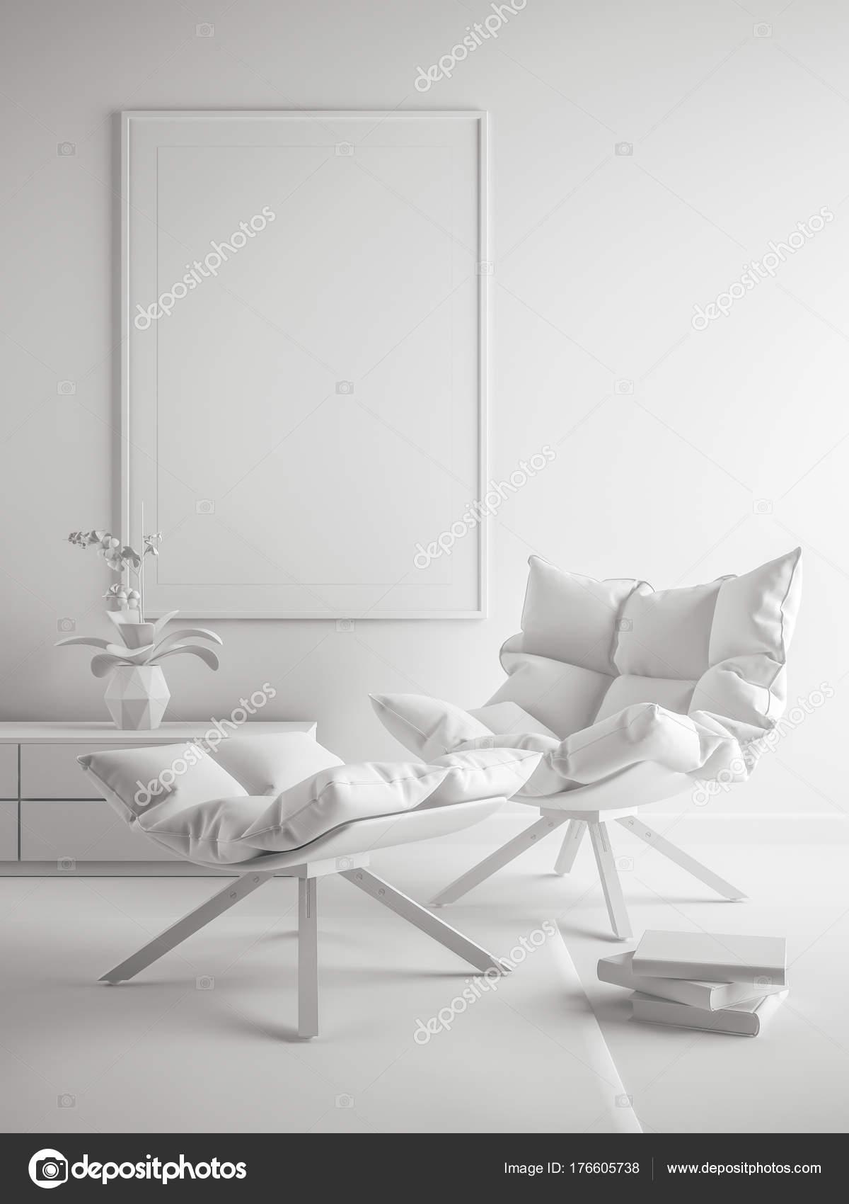 Weiß innen modernes Design Zimmer 3D-Illustration — Stockfoto ...