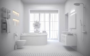 white Interior of the modern bathroom 3D rendering