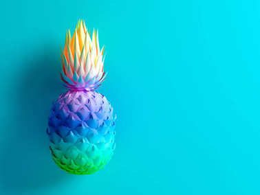 Multicolor pineapple on blue background 3D rendering