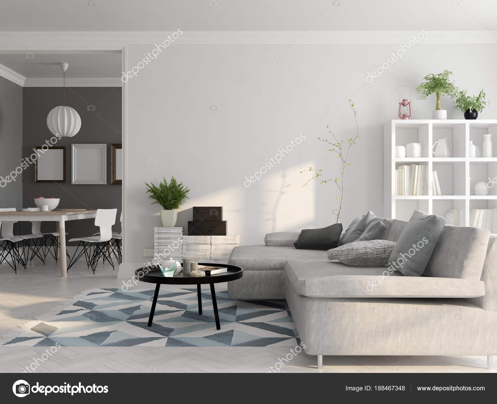 Skandinavischen Stil Innenarchitektur 3D-Rendering — Stockfoto ...