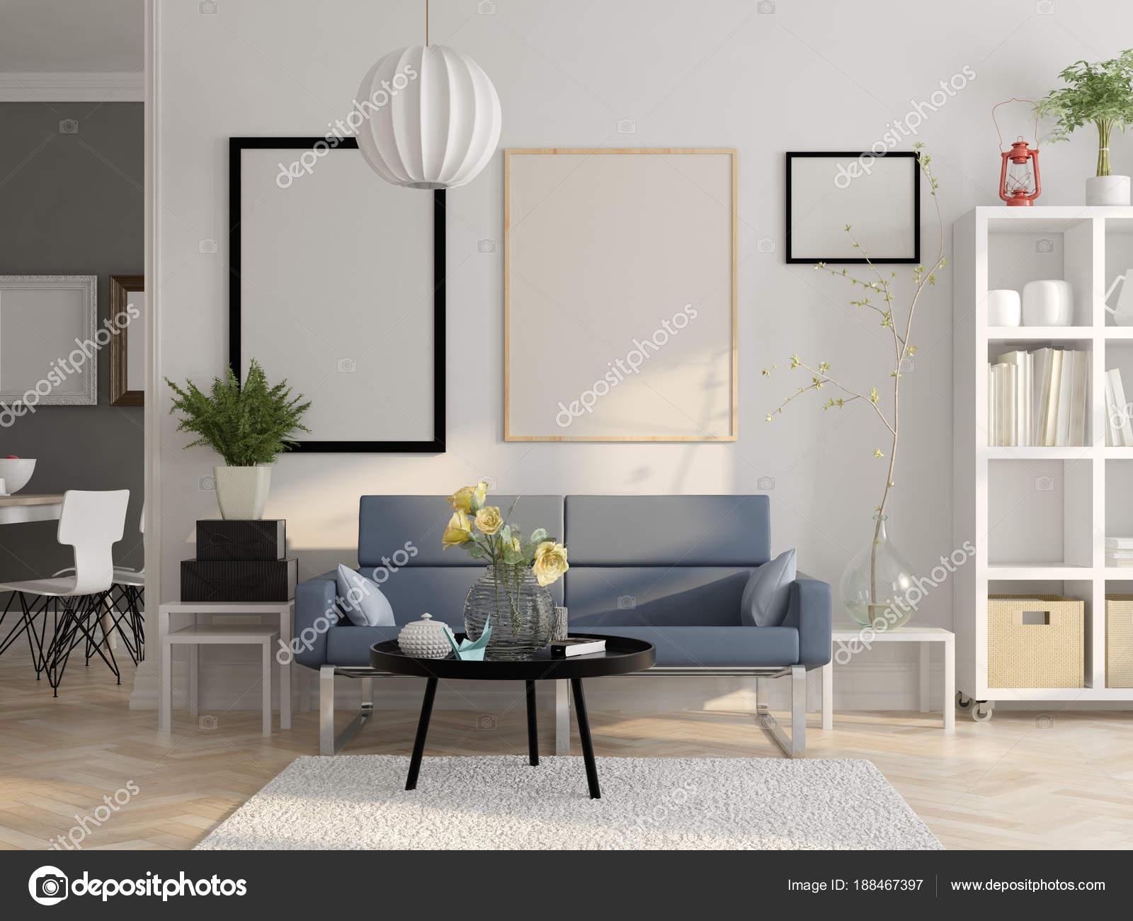 Scandinavische stijl interieur 3D-rendering — Stockfoto © hemul75 ...
