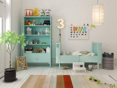 Children room scandinavian style 3D rendering