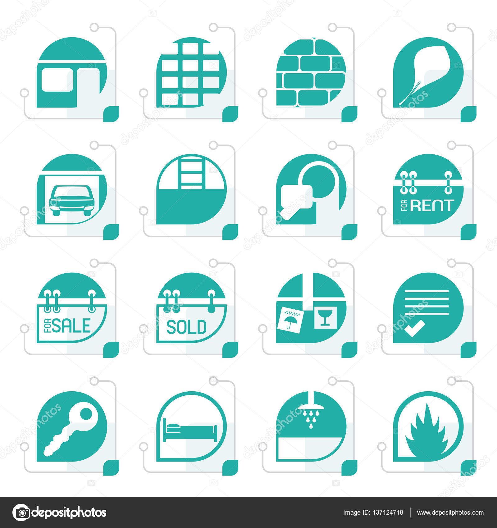 Stilisierte einfache Immobilien-Symbole — Stockvektor © stoyanh ...