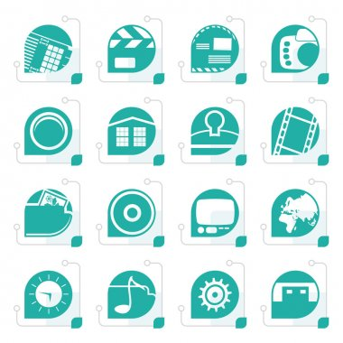 Stylized Internet, Computer and mobile phone icons