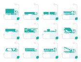 Fotografie stilisierte verschiedene Arten von LKW und LKW-Ikonen