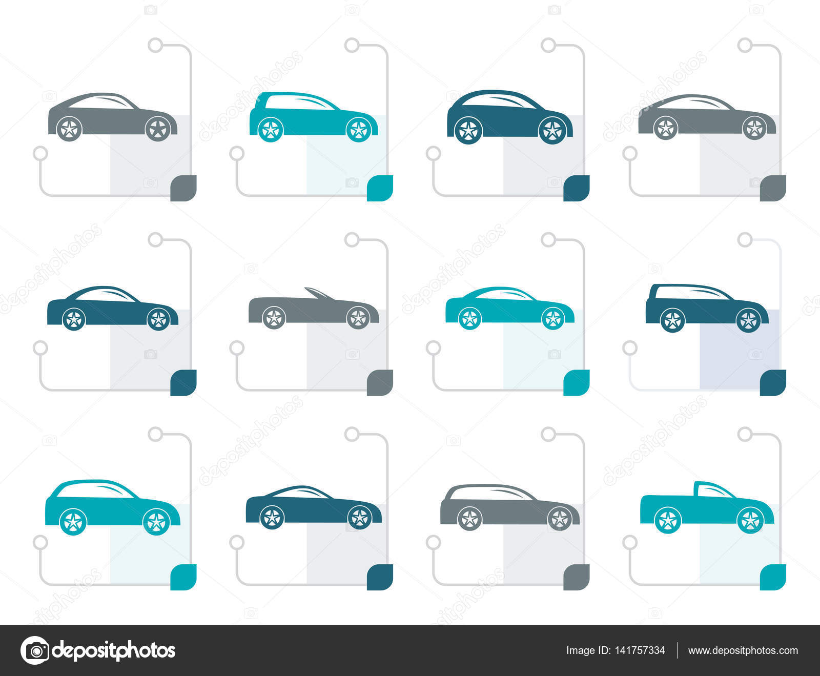 Stylized different types of cars icons — Stock Vector © stoyanh