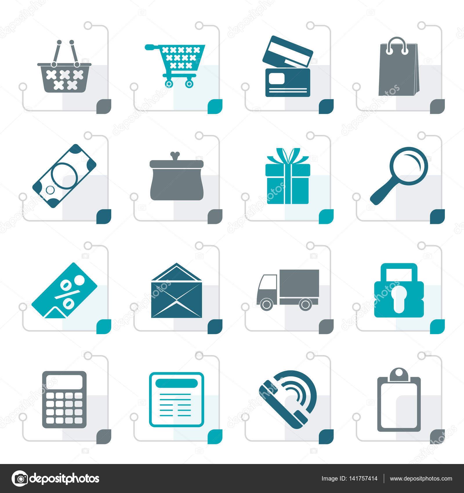 145bdfb3d5a Τυποποιημένο ηλεκτρονικό κατάστημα εικονίδια — Διανυσματικό Αρχείο ...