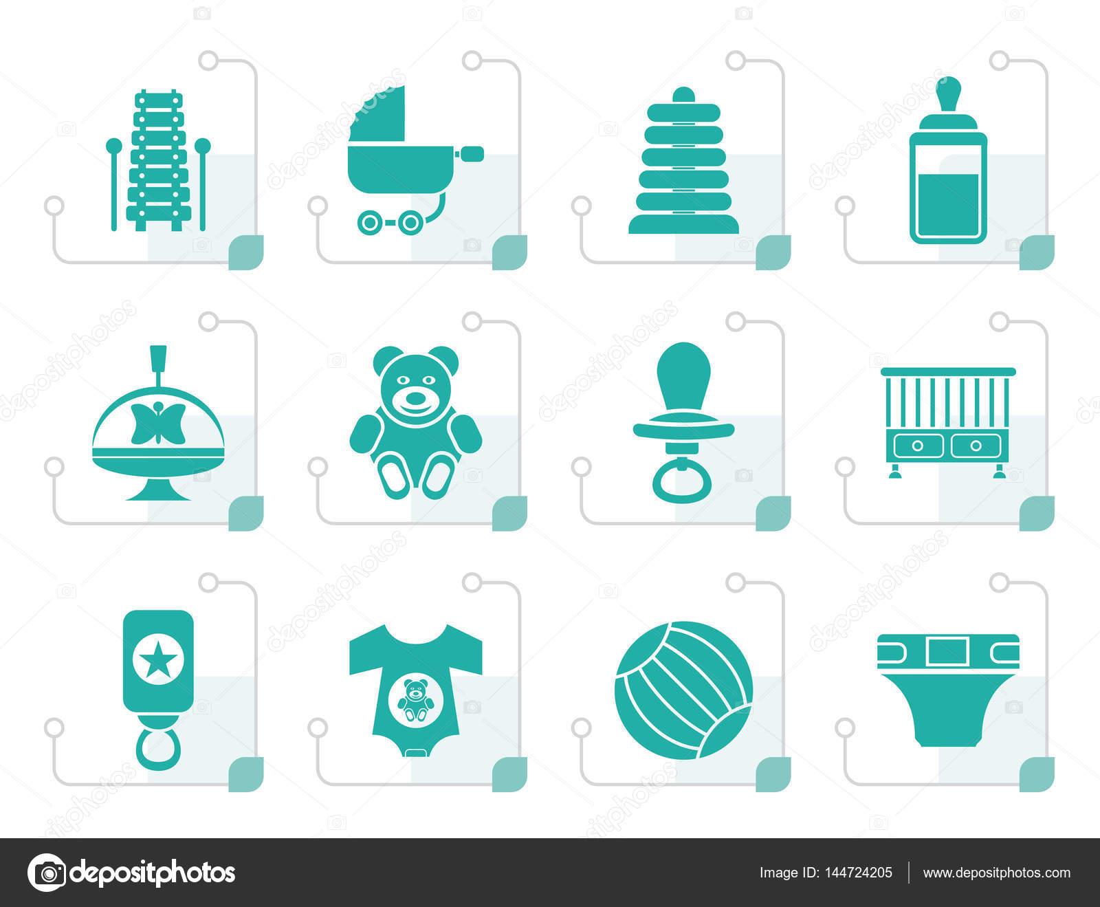 Webwinkel Babykleding.Gestileerde Kind Baby En Baby Webwinkel Pictogrammen Stockvector