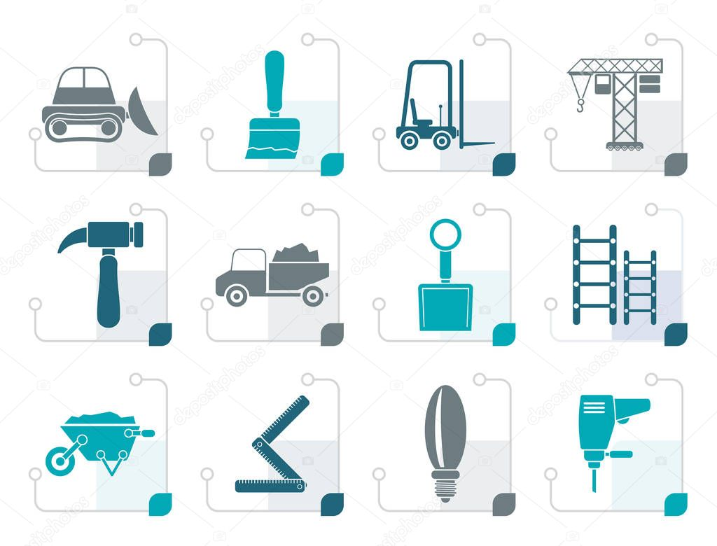 Stylized Building and Construction equipment icons