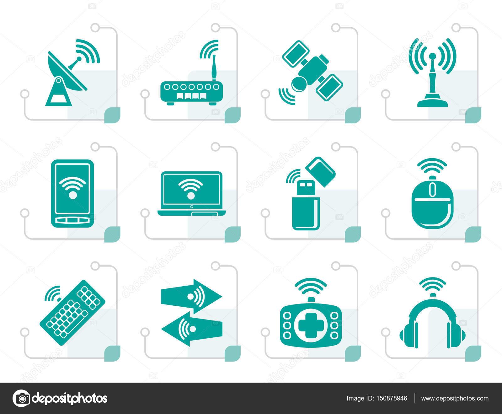 Stilisierte Symbole für Wireless und Kommunikation Technologie ...