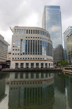 LONDON, ENGLAND - JUNE 17 2016: Business building and skyscraper in Canary Wharf, London, England