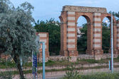 Night photo of Ruins of Roman Aqueduct in city of Plovdiv