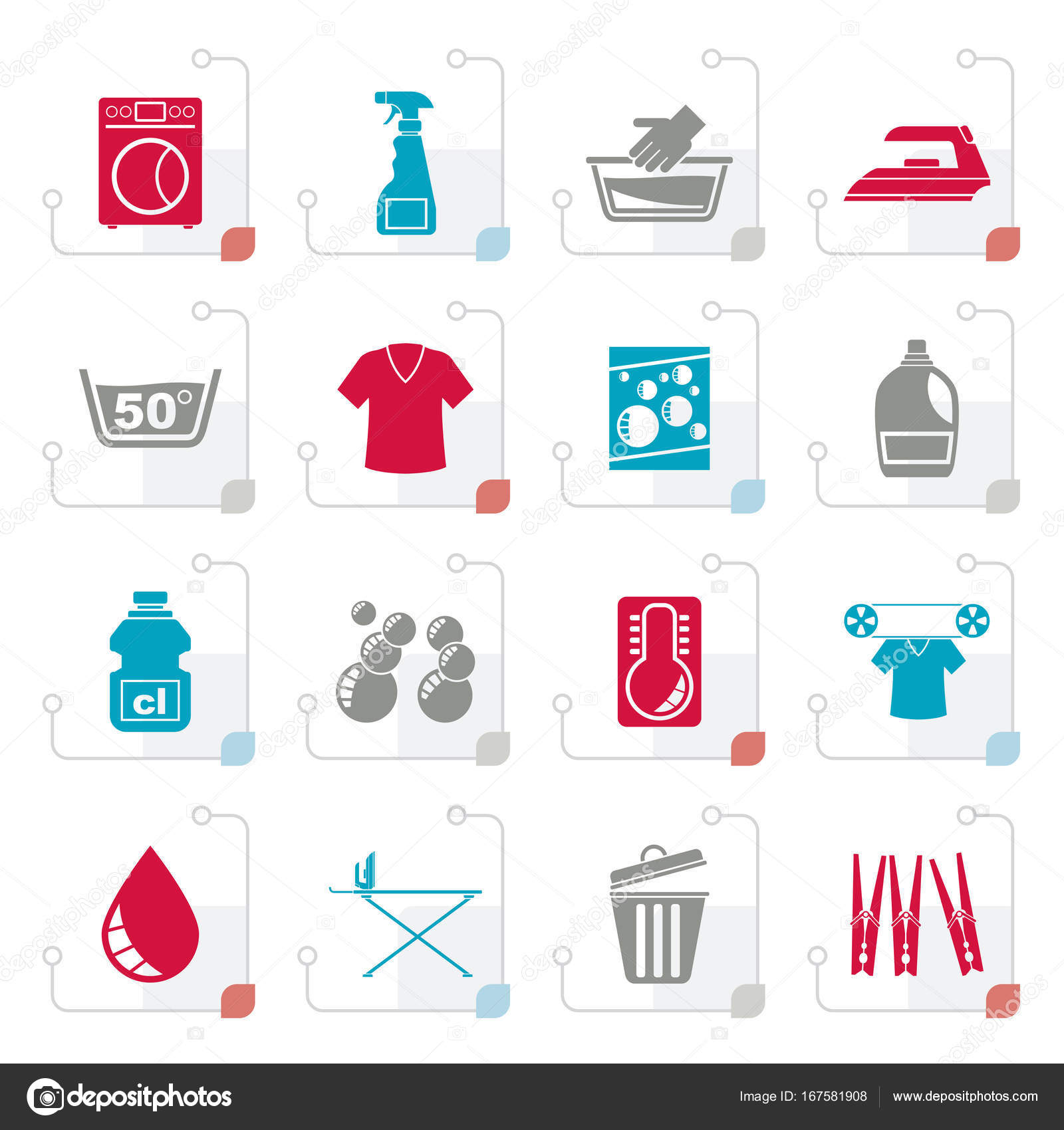 stylized washing machine and laundry icons stock vector stoyanh