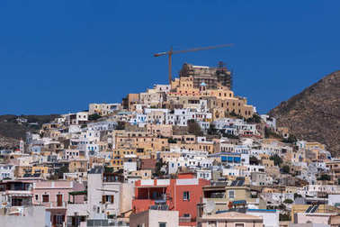 SYROS, GREECE - APRIL 30, 2013: Panoramic view to City of Ermopoli, Syros, Cyclades Islands, Greece