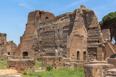 ROME, ITALY - JUNE 24, 2017: Panoramic view of ruins in Palatine Hill in city of Rome, Italy