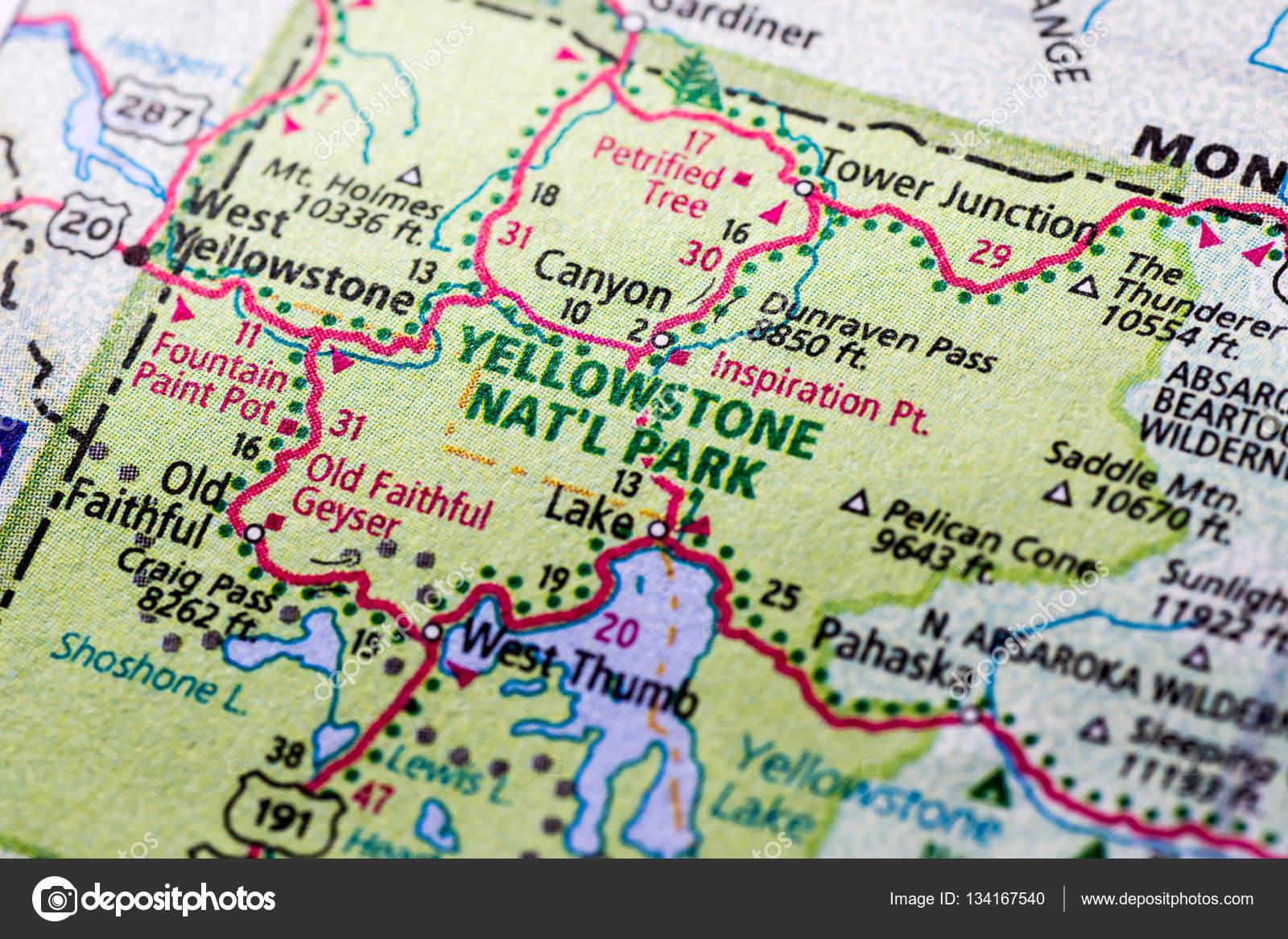 Parque De Yellowstone En El Mapa Fotos De Stock C Woodkern 134167540