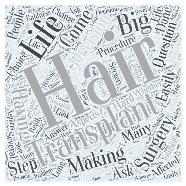Making the Decision to Have Hair Transplant Surgery word cloud concept