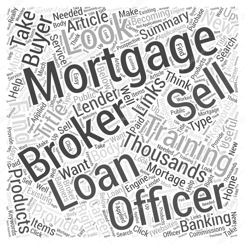 Hypotheken-Broker und Kreditsachbearbeiter Word Cloud-Konzept ...