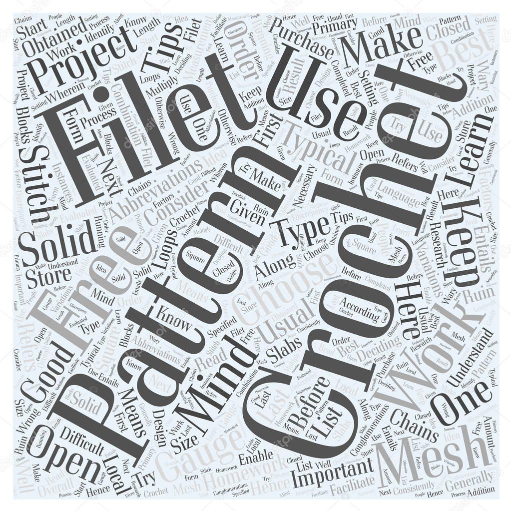 Kostenlose Filet Häkeln Muster Word Cloud Konzept Stockvektor