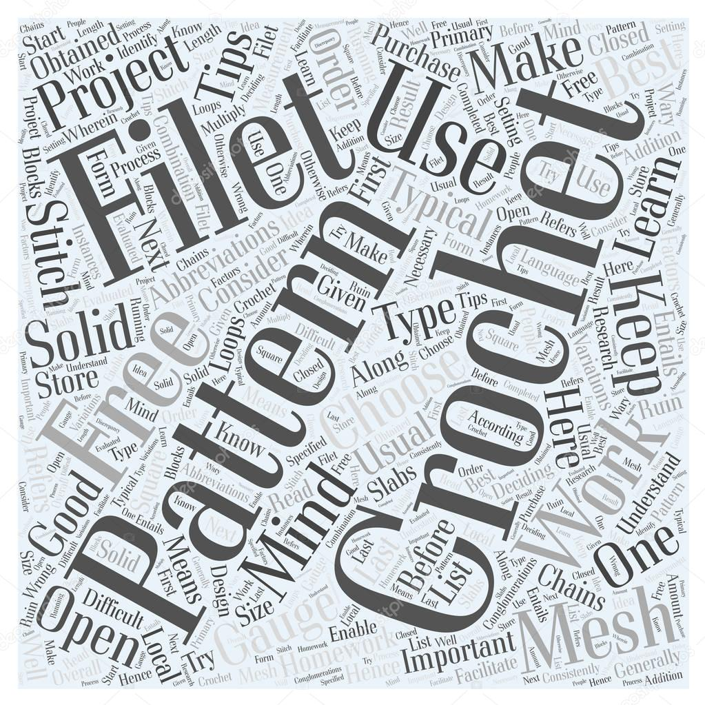 Gratis Filet Haken Patroon Word Cloud Concept Stockvector