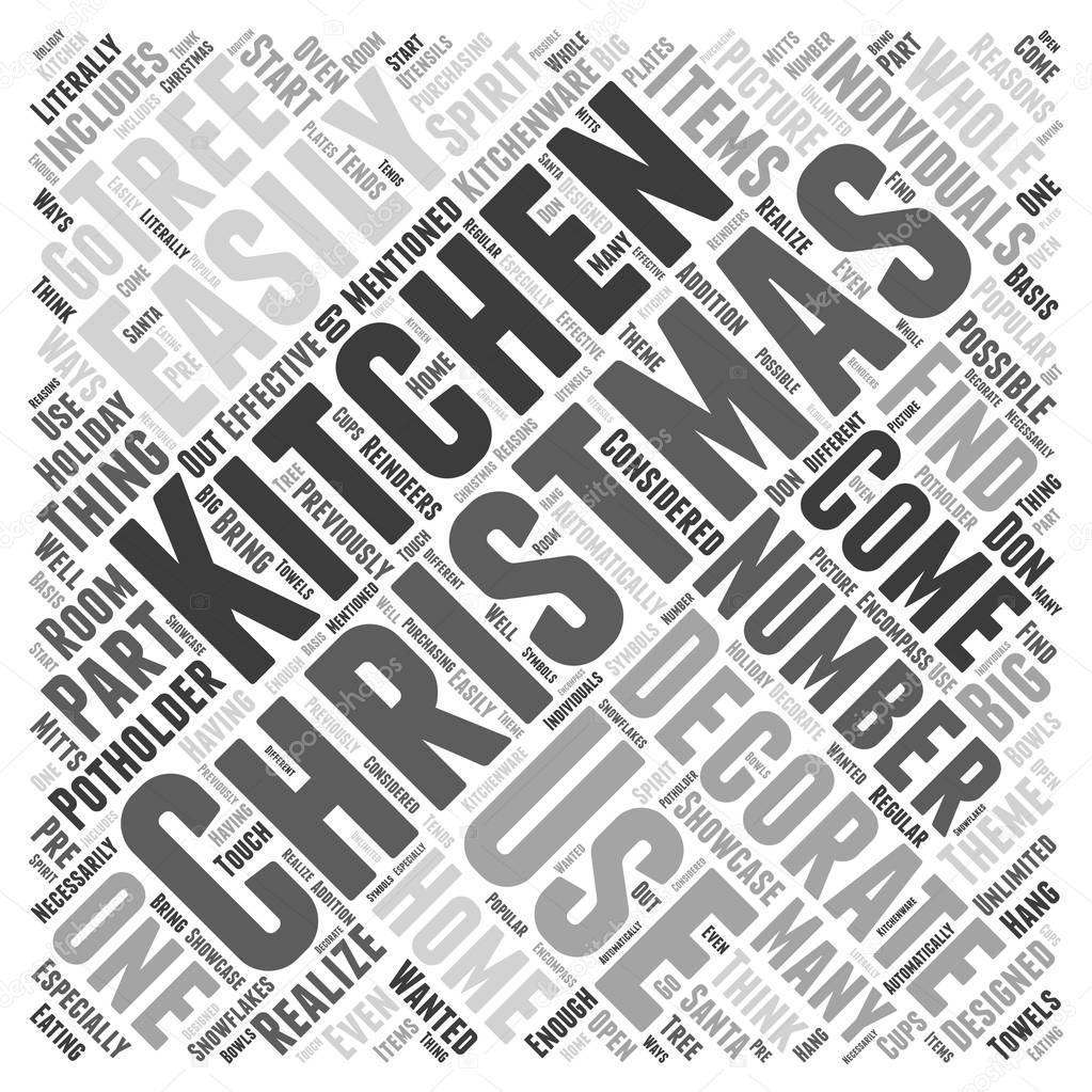 Dekorieren Sie Ihre Küche für Weihnachten Word Cloud-Konzept ...