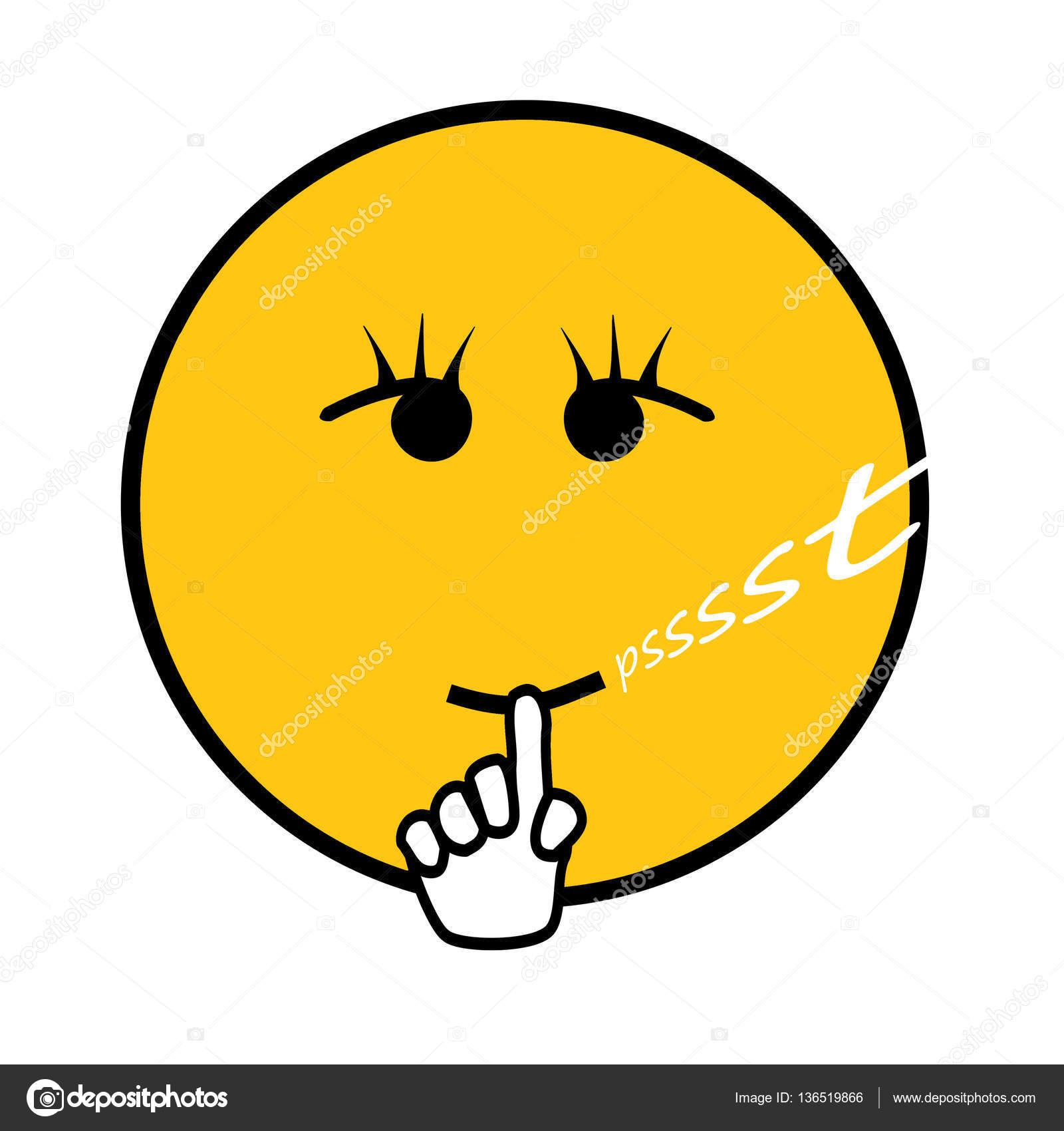 Quiet smiley isolated on white stock photo hd design 136519866 smiley with finger in front of mouth an text psssst be quiet photo by hd design buycottarizona