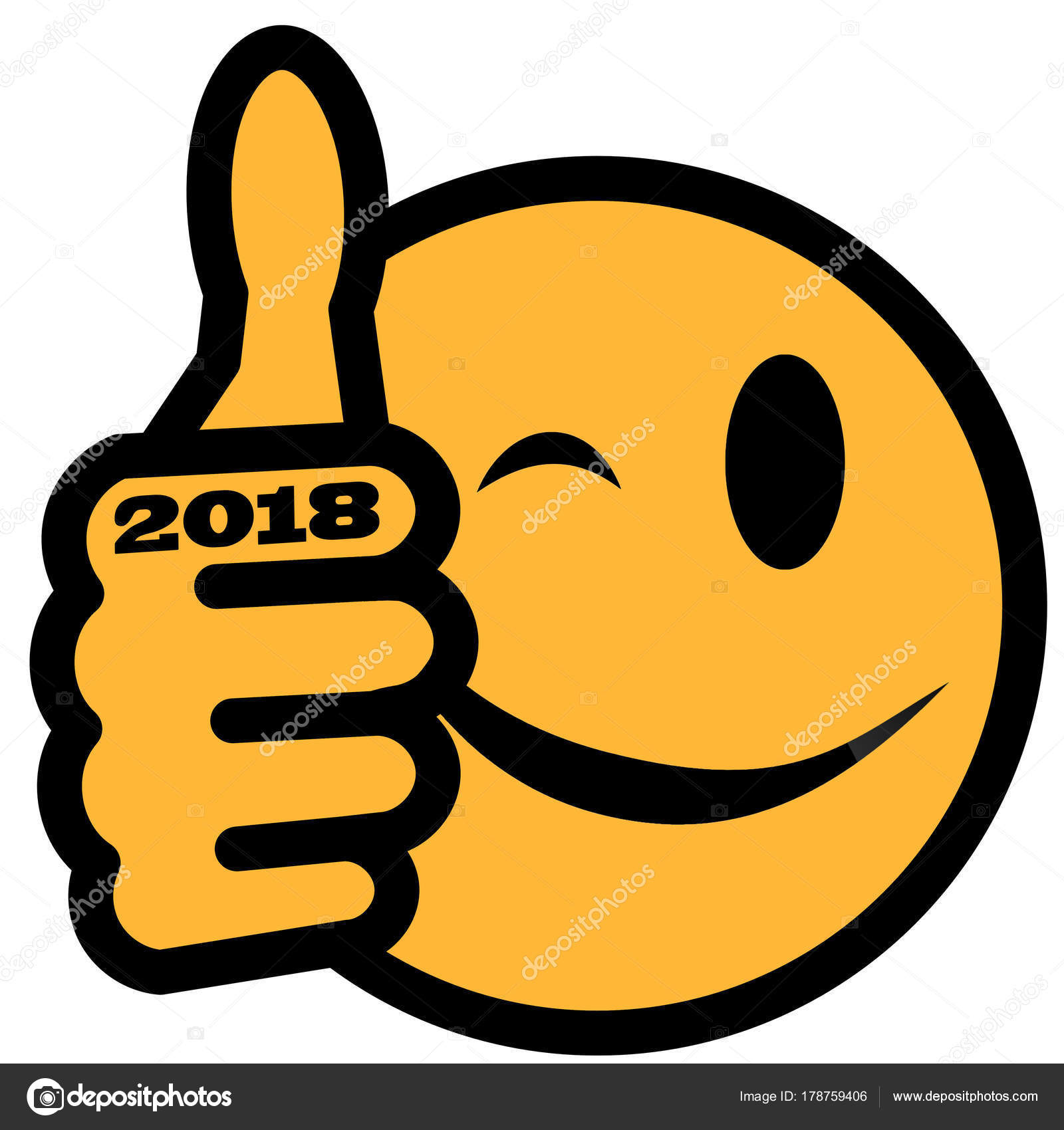 New Years Smiley Thumb Party Hat Year 2018 — Stock Photo