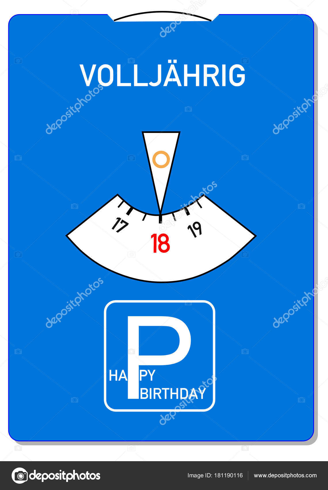 Verjaardagskaart Voor 18e Verjaardag Met Het Duitse Woord
