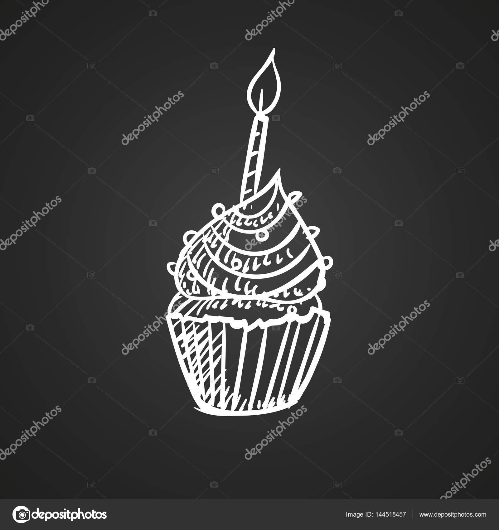 Vektor Narozeniny Cupcake Kresba Stock Vektor C Ramonakaulitzki