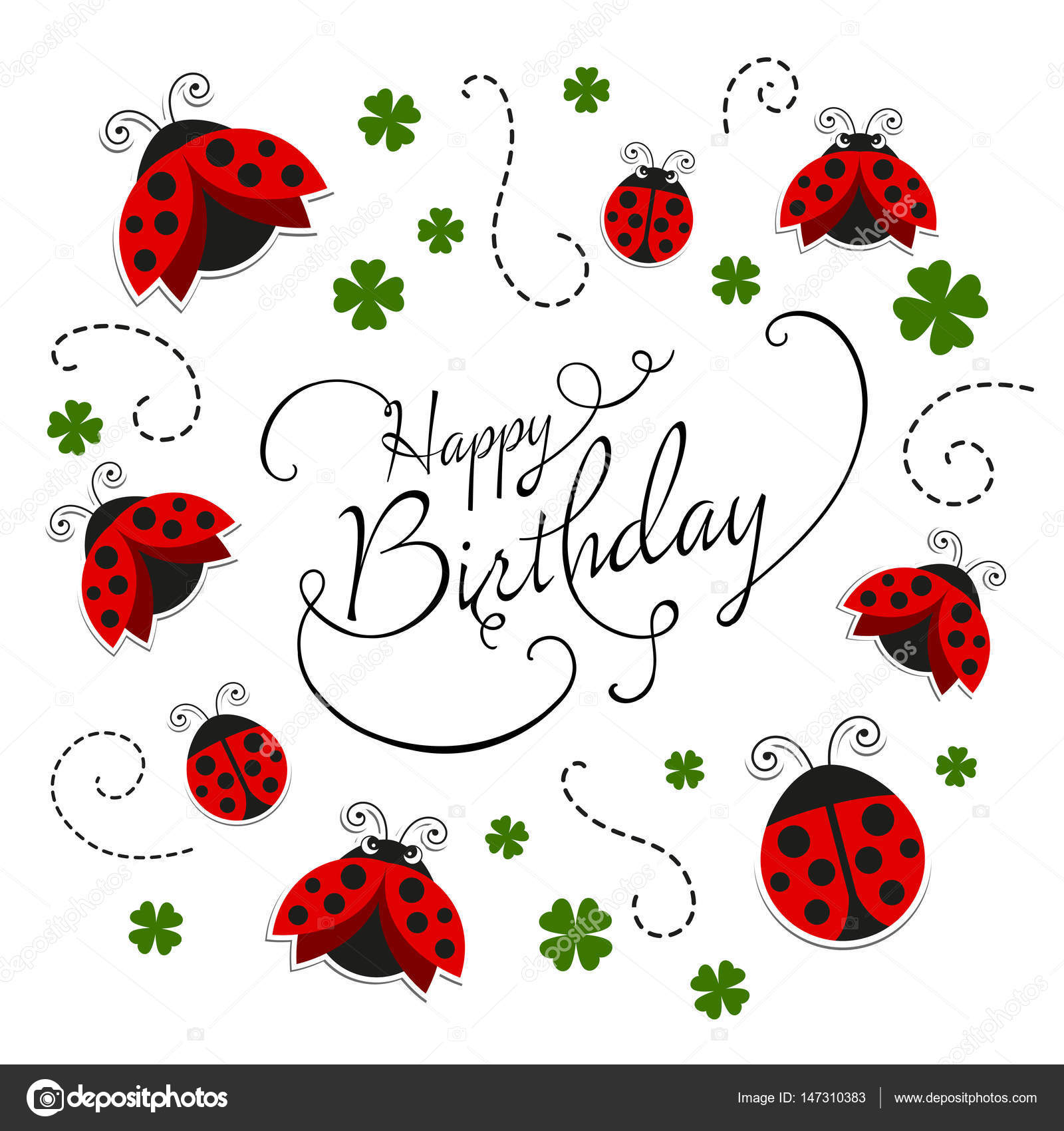 Vector happy birthday greeting card with ladybugs stock vector vector happy birthday greeting card with ladybugs stock vector stopboris Images